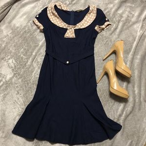 Miusol vintage blue and tan capped sleeve dress